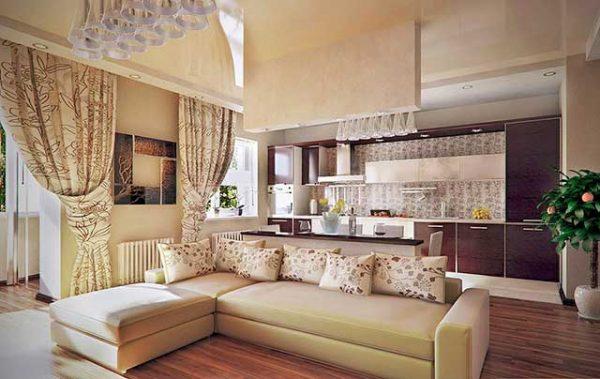 Дизайн кухни совмещенной с гостиной: фото идеи, зонирование с помощью барной стойки