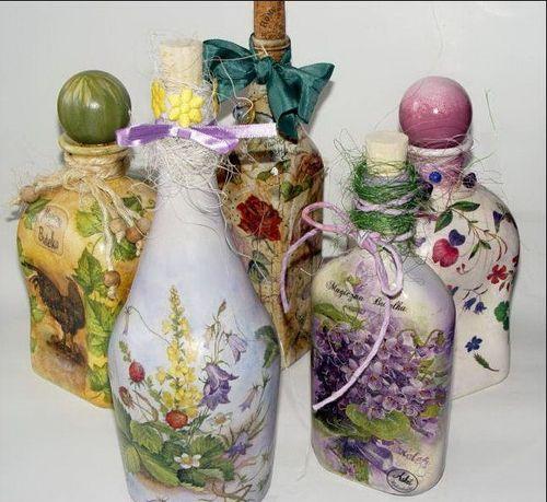 Идеи декупажа бутылок для дома
