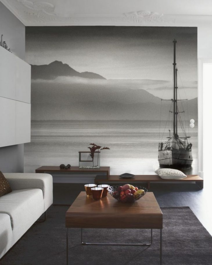 Красивые фотообои на стене в интерьере