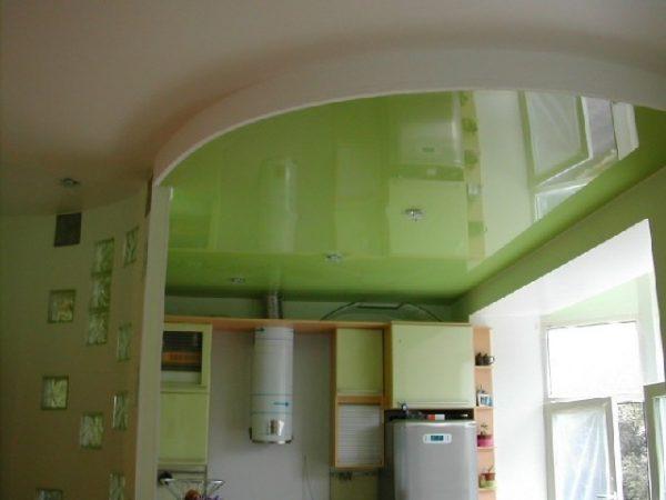Натяжной потолок на кухне — 120 фото вариантов дизайна