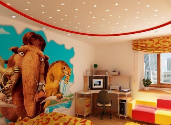 Потолок в детской комнате для мальчика и для девочки — фото в интерьере