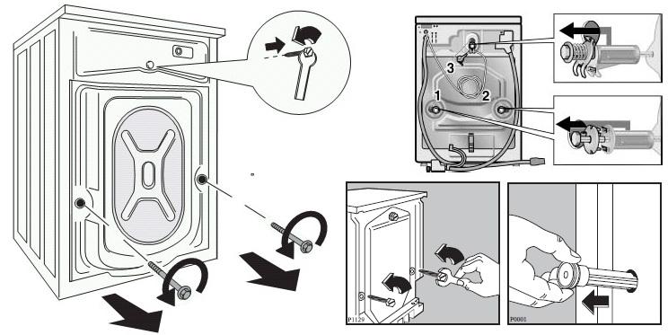 Транспортировочные болты на стиральной машине в фото