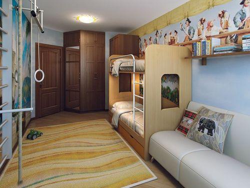 Варианты дизайна и планировки детской комнаты для двоих детей