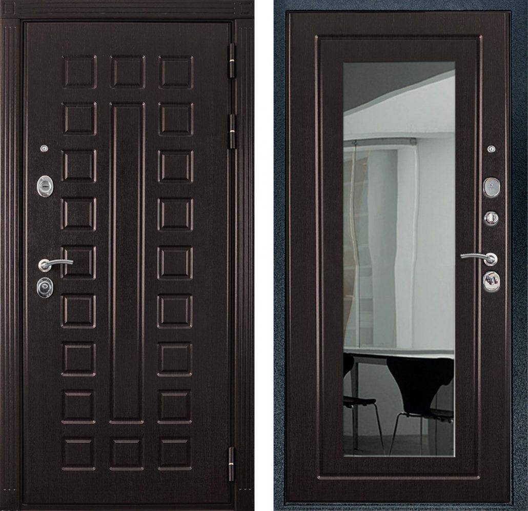 входные двери с зеркалом венга